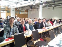 Blick ins Parteitagsplenum, im Vordergrund die Delegierten des SPD-Unterbezirks Ansbach