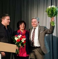 SPD-Bezirksvorsitzender Carsten Träger mit den mittelfränkischen Spitzenkandidaten Christa Naaß (Bezirkstag) und Horst Arnold (Landtag)
